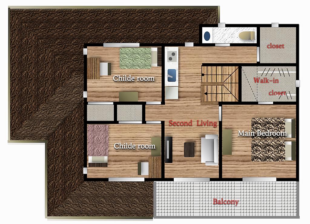 新築二世帯住宅 セカンドリビングの間取り図