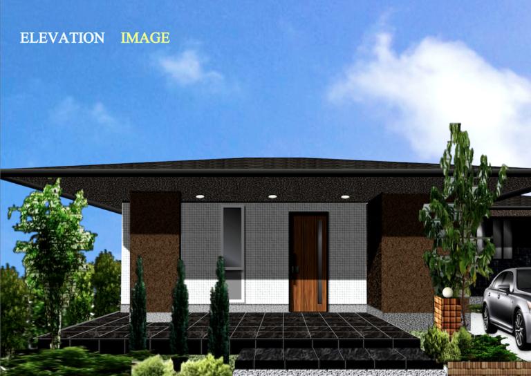 平屋のおしゃれな家 外観デザインパース