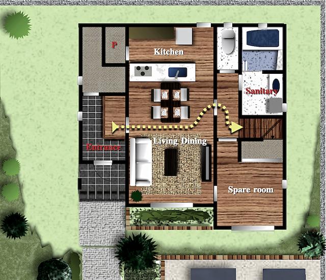 新築間取り案 階段位置の工夫