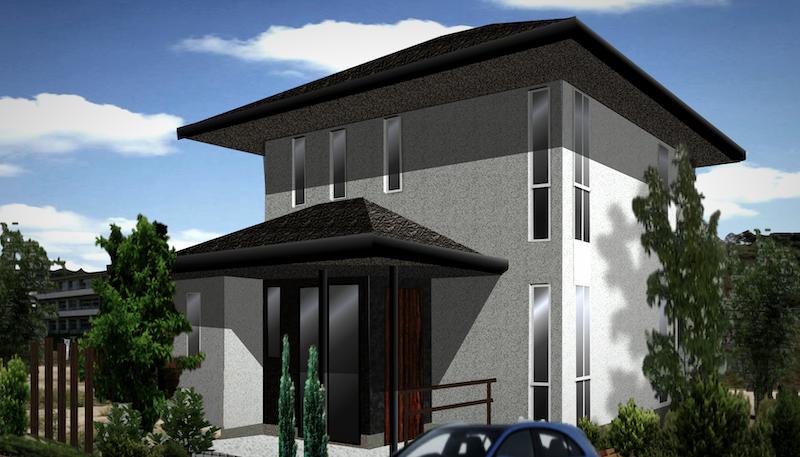 おしゃれな家、かっこいい家の外観デザイン 寄棟屋根