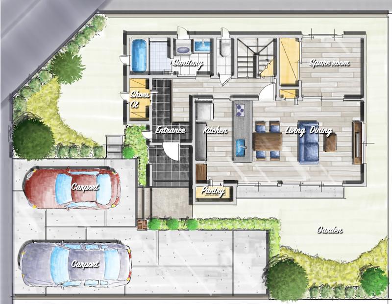 注文住宅、自由設計の家 間取り図